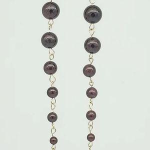 Garnet Waterfall, graduated dangle earrings gold
